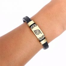 Naruto Weave Leather Bracelet Leaf Village