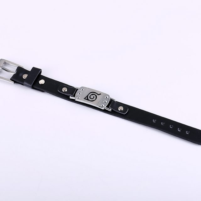Naruto Konoha Symbol Leather Bracelet