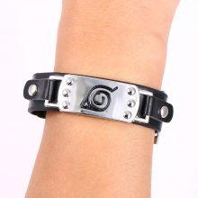 Naruto Konoha Symbol Leather Bracelet