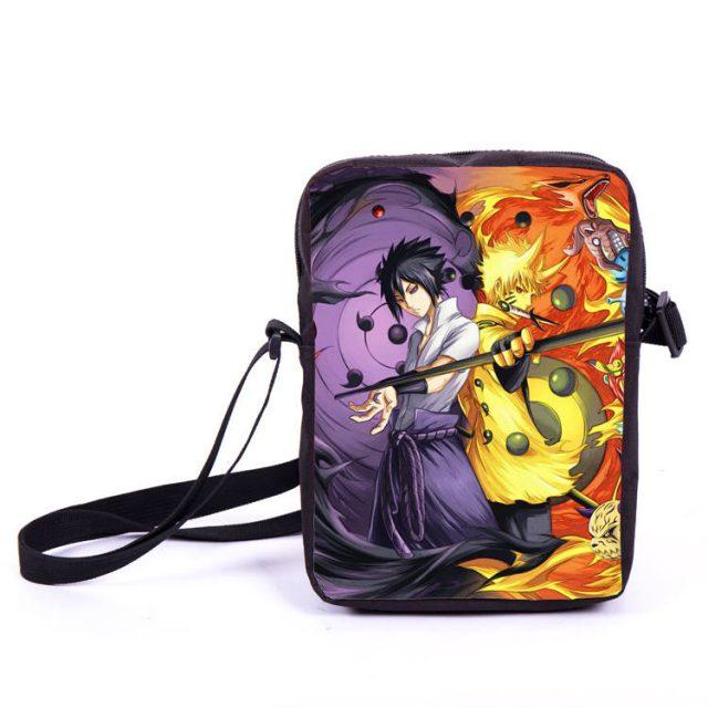 Naruto and Sasuke Print Messenger Bag