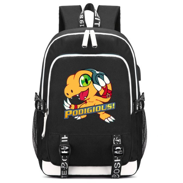 Digimon Agumon Print Backpack with USB Charging Port