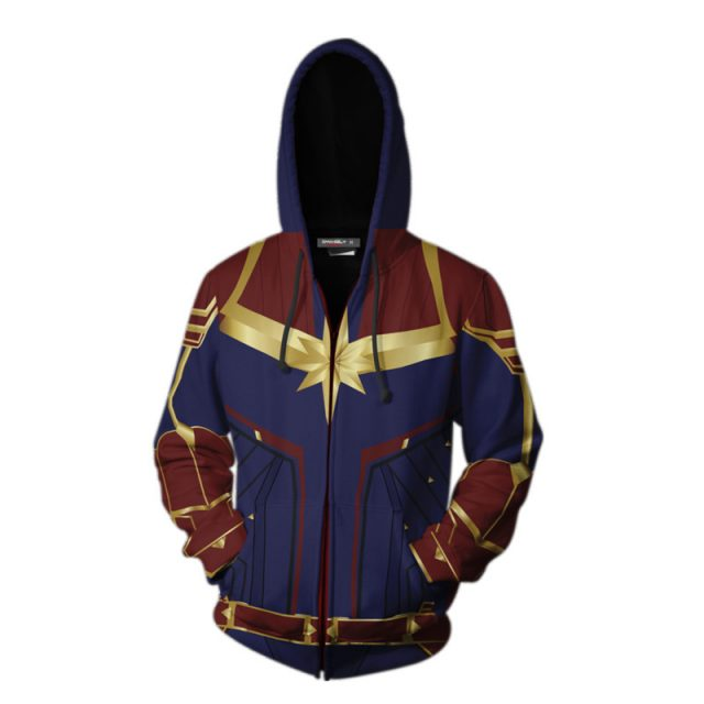 Avengers End Game Captain Marvel Themed Print Hoodie