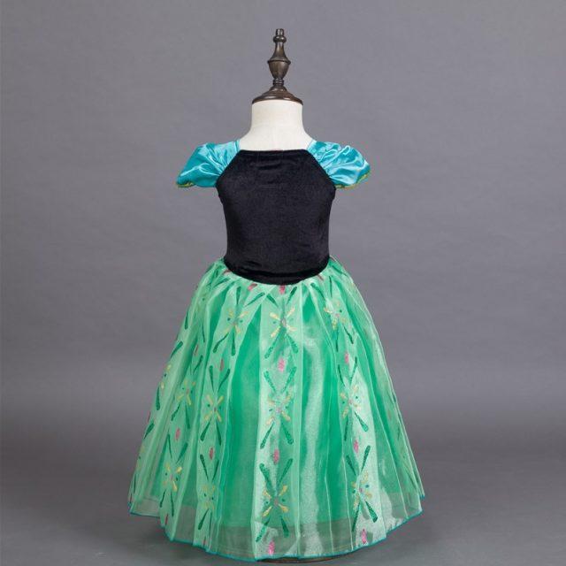 Frozen Princess Anna Cosplay Costume Halloween Dress for Kids